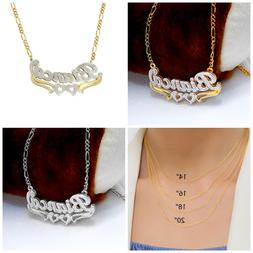 Personalized Silver & Gold Script Double Any Name Plate Neck