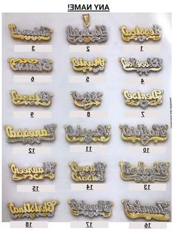 Personalized Silver and Gold Script Double Any Name Plate Ne