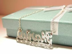 Personalized Single Name Plate Necklace In Sterling Silver