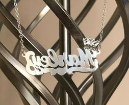 Personalized Single Name Plate Necklace in Sterling Silver w