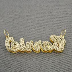 Personalized Solid 10K Yellow Gold 3D Double Plates Iced Out