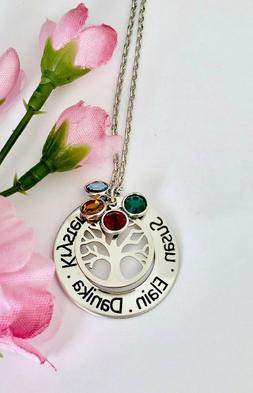 Personalized stainless steel name/birthstones Family Tree Si