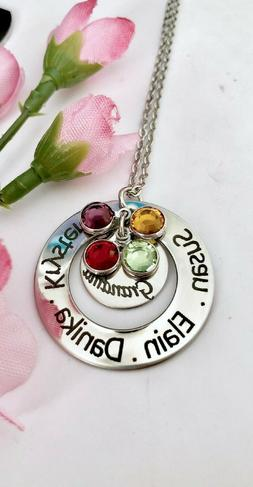 personalized stainless steel name birthstones necklace gift
