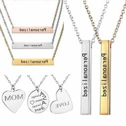 Personalized Stainless Steel Name Engraved Bar Pendant Chain