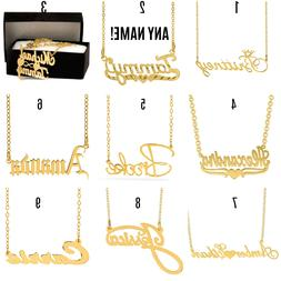 Personalized Sterling Silver 14KGold Any Name Plate Script C