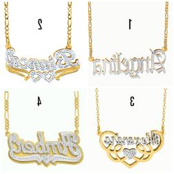 Personalized Sterling Silver 14KGold Script Double ANY NAME