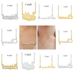 Personalized Sterling Silver ANY NAME Plate Script Chain Nec