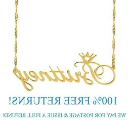 Personalized Sterling Silver Gold Name Plate Script Chain Ne