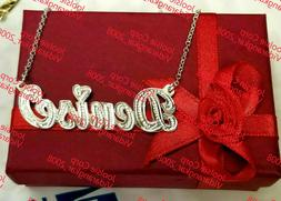 PERSONALIZED STERLING SILVER  NAME PLATE CHAIN NECKLACE * CH