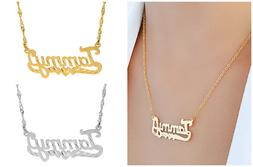 Personalized Sterling Silver Script Any Name Plate Necklace