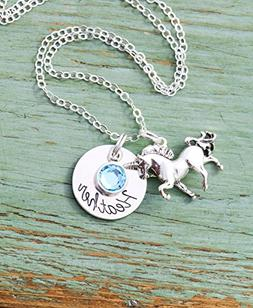Personalized Unicorn Necklace - ROI - Custom Girls Name Cute