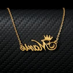 personalized women custom name princess crown necklace