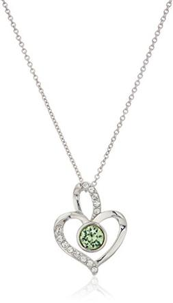 Platinum Plated Sterling Silver Swarovski Crystal Peridot Co