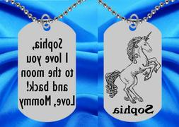 Pretty Unicorn Dog Tag Necklace for Kids, Personalized FREE