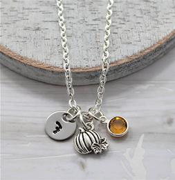 Pumpkin Necklace - Fall Themed Autumn Jewelry for Women - Pe