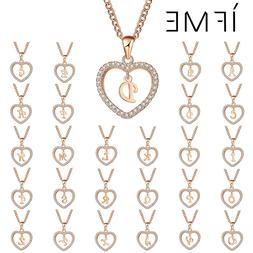IF ME Romantic Gold Color Cubic Zirconia Love Heart Crystal
