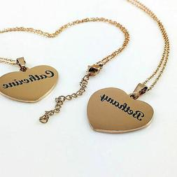 Rose Gold Personalized Engraved Heart Shaped Name Plate Neck