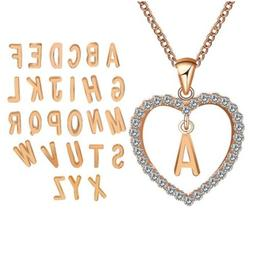 Rose Gold Plated Best Gift Name Initial A -Z Heart Pendant C