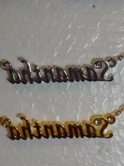 SAMANTHA Name Necklace with Rhinestone Gold or Silver Tone