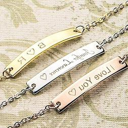 A Absolute rate your name bar Bracelet - Dainty Hand stamped