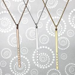 Same Day shipping til 3 p.m EST,Skinny long Name Bar Necklac