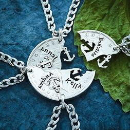 Silver 4 Best Friend Anchor Necklaces with Custom Names Engr