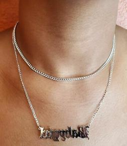 SILVER BABY GIRL NAME PLATE STATEMENT DOUBLE LAYER NECKLACE