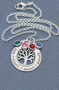 Silver Family Tree Necklace - DII ABC - Grandma Gift - Perso
