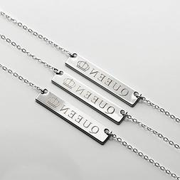 Silver Queen Necklace Name Plate Bar Gold Necklace Birthday