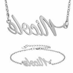HUAN XUN Silver Stainless Steel Tiny Name Nicole Name Neckla