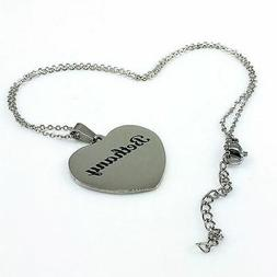 Silver Tone Personalized Engraved Heart Shaped Name Plate Ne