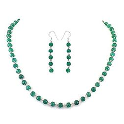 skyjewels Natural Emerald Gemstone Chain Necklace in Sterlin