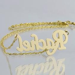 Small Solid 14K Gold Personalized Script Name Necklace Monog