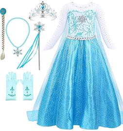 Snow Queen Elsa Princess Party Dress Costume with Accessorie