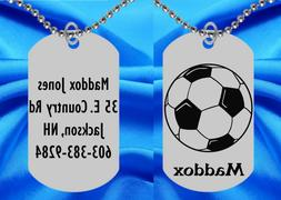 SOCCER Dog Tag Necklace for Kids, Personalized FREE with NAM