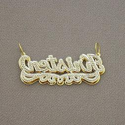 Solid 10K Gold 3D Double Plates Personalized Iced Out Name P