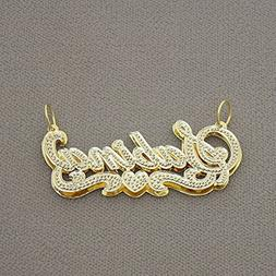 Solid 14K Gold 3D Double Plates Personalized Iced Diamond Ac