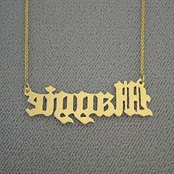 Solid 14k Gold Name Necklace Personalized Laser Cut Old Engl