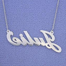 Solid 14k White Gold Name Necklace Script Font Personalized