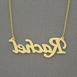 Solid 10k Yellow Gold Name Necklace Script Font Personalized
