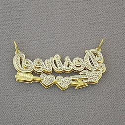 Solid 10K Yellow Gold Personalized 3D Cupid's Arrow Hearts C