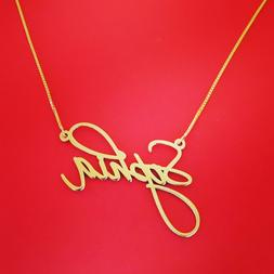 Gold ANY Name Necklace / upgrade .8 mm thick / 14k Gold 14 c