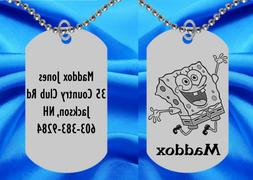 Spongebob Squarepants Dog Tag Necklace for Kids, Personalize