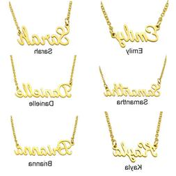 Stainless Steel Lettering Name Golden Pendant Chain Necklace