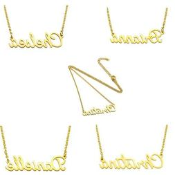 Stainless Steel Lettering Name Pendant Chain Necklace Golden