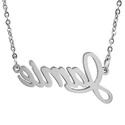 Huan XUN Stainless Steel Personality Name Monogram Necklace,