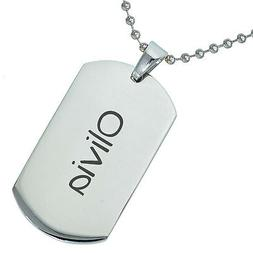 Stainless Steel Personalized Baby Name Olivia Engraved Penda