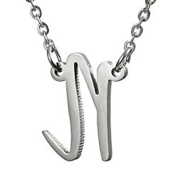 Huan Xun Stainless Steel Personalized Initial Name Necklace