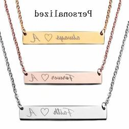 Stainless Steel Personalized Name Bar Necklace Custom Engrav