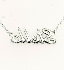Stella Name Plate Necklace Pendent Sterling Silver female Pe